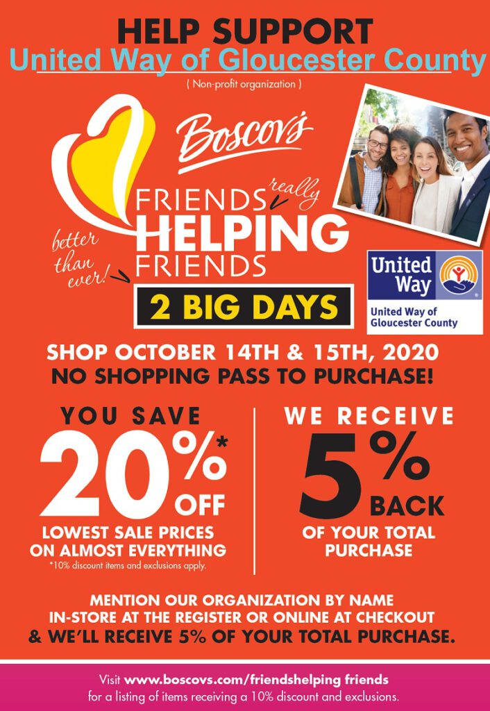 Shop Boscov's on 10/14  and 10/15, and we will receive 5% of your total purchase!