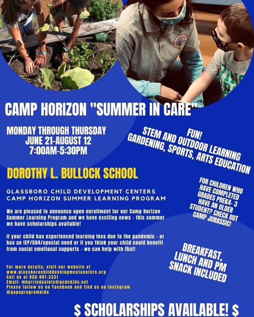 "Glassboro CDC Announces ""Camp Horizon"" Summer Learning Program"